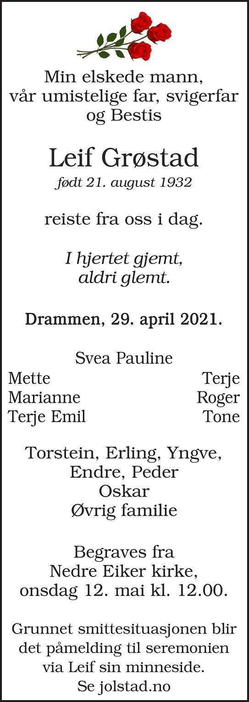 Leif Grøstad Dødsannonse