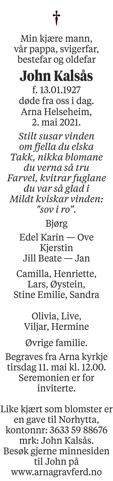 John Kalsås Dødsannonse