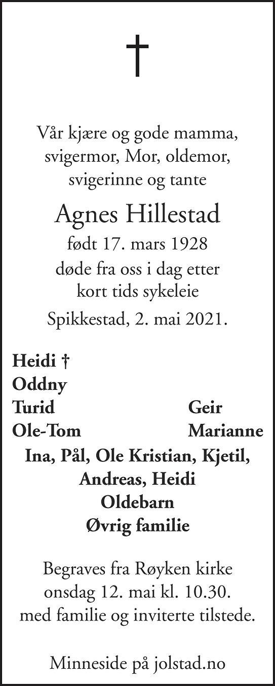 Agnes Hillestad Dødsannonse