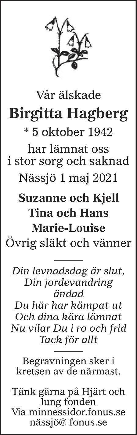 Karin Birgitta Margaretha Hagberg Death notice
