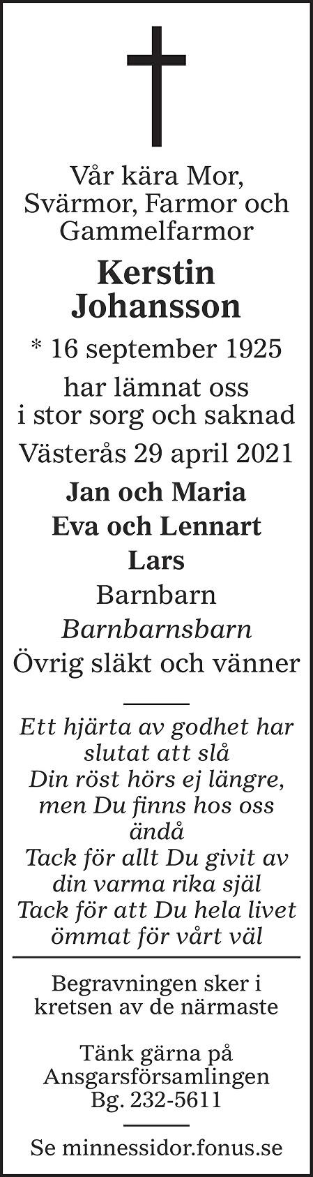 Kerstin Johansson Death notice