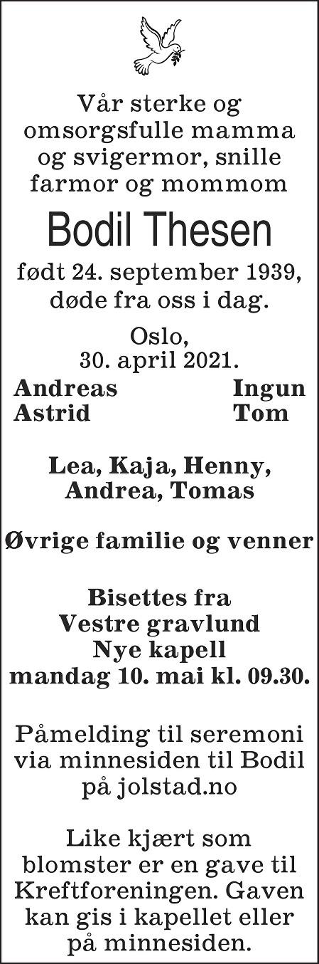 Bodil Thesen Dødsannonse