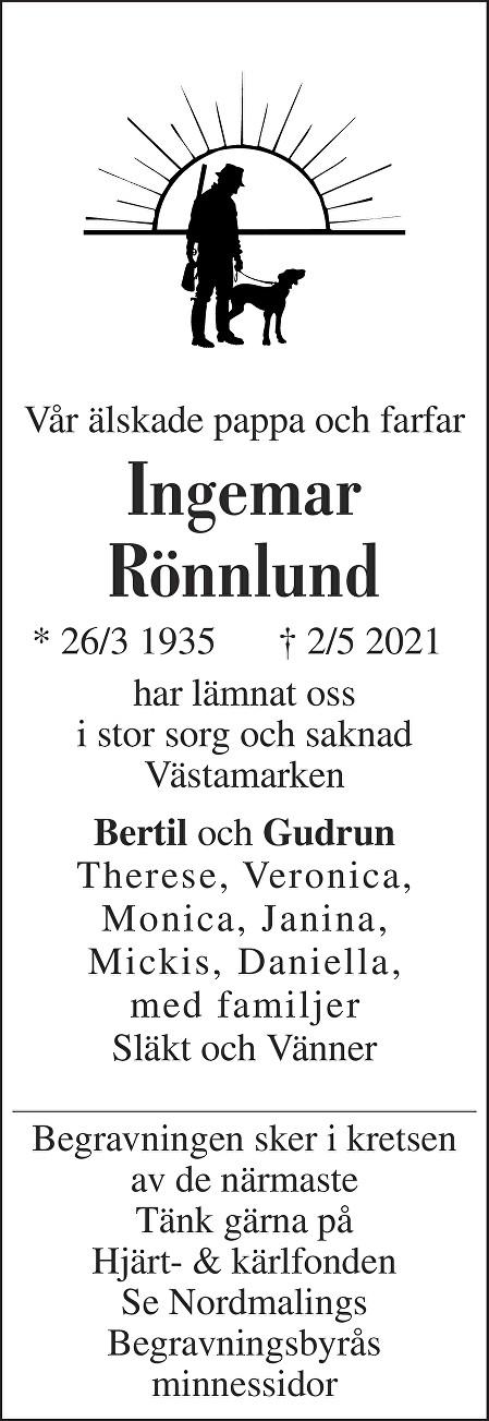 Ingemar Rönnlund Death notice