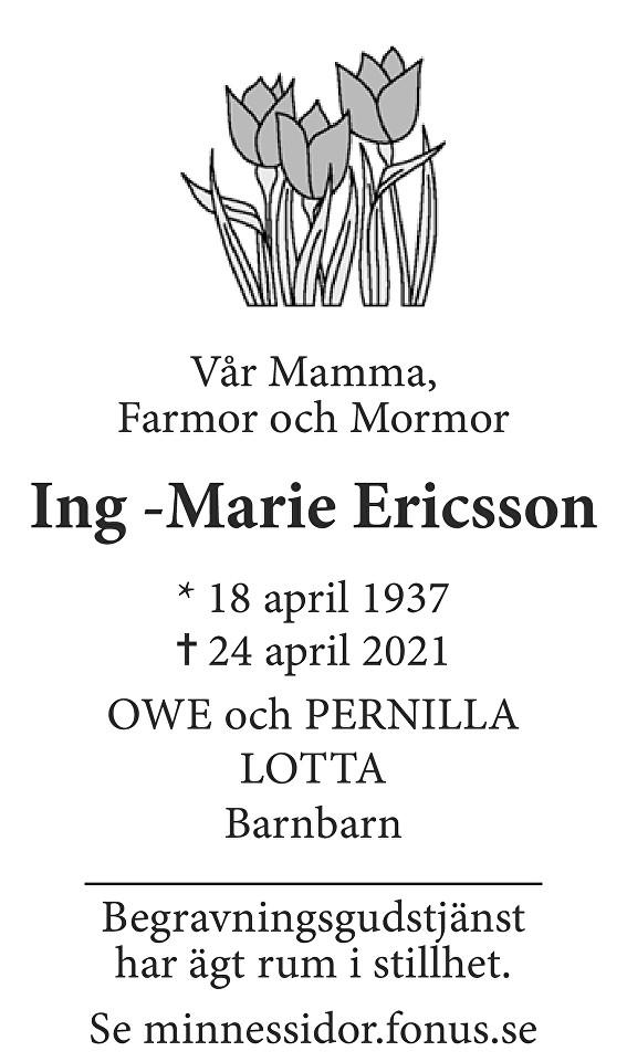 Ing- Marie Ericsson Death notice
