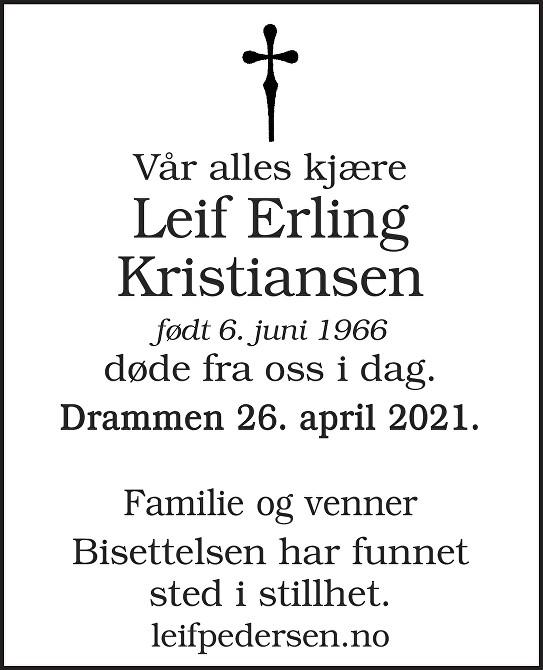 Leif Erling Kristiansen Dødsannonse
