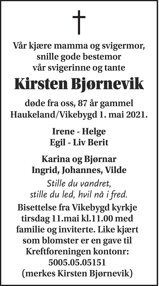 Kirsten Bjørnevik Dødsannonse
