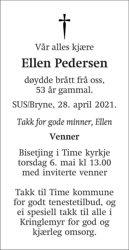 Ellen Pedersen Dødsannonse
