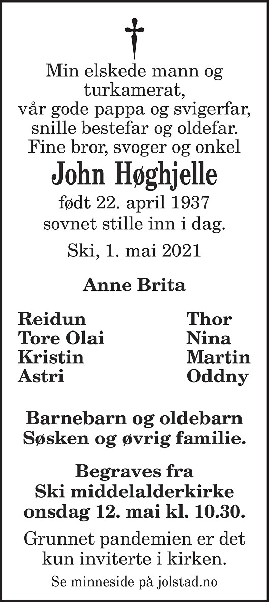 John Høghjelle Dødsannonse