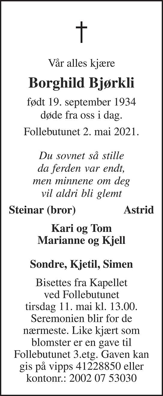 Borghild Bjørkli Dødsannonse
