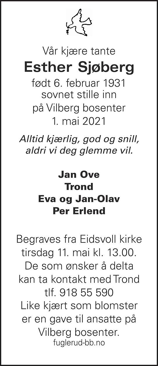 Esther Sjøberg Dødsannonse