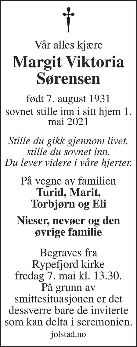 Margit Viktoria Sørensen Dødsannonse