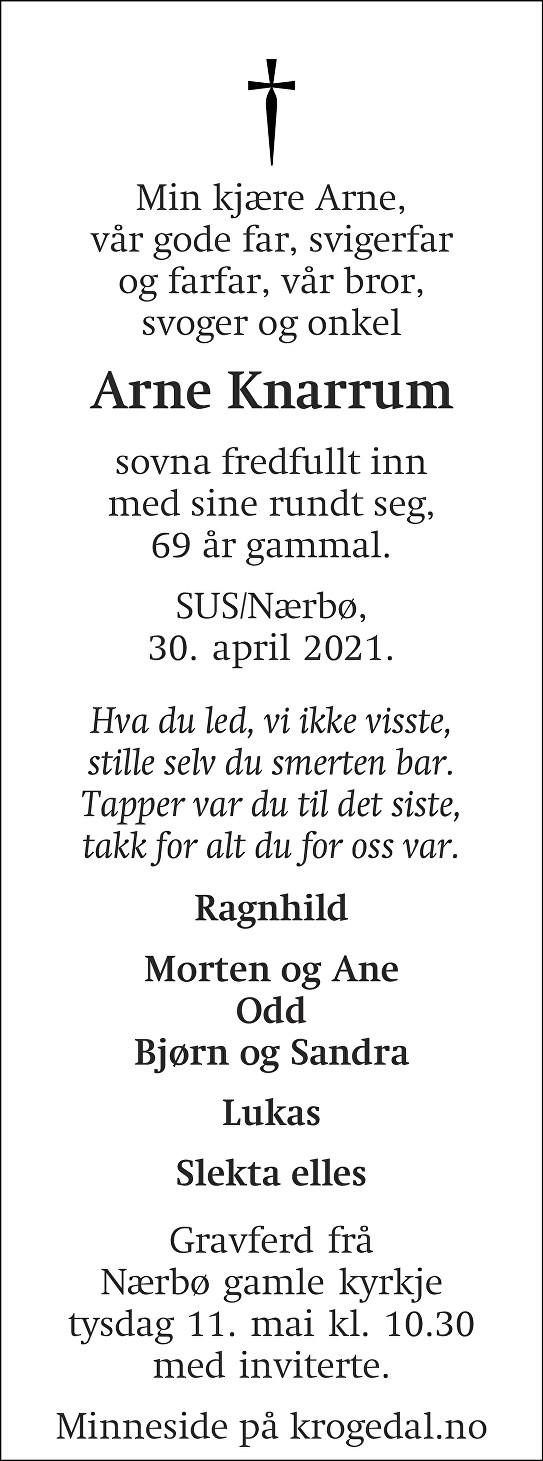Arne Knarrum Dødsannonse