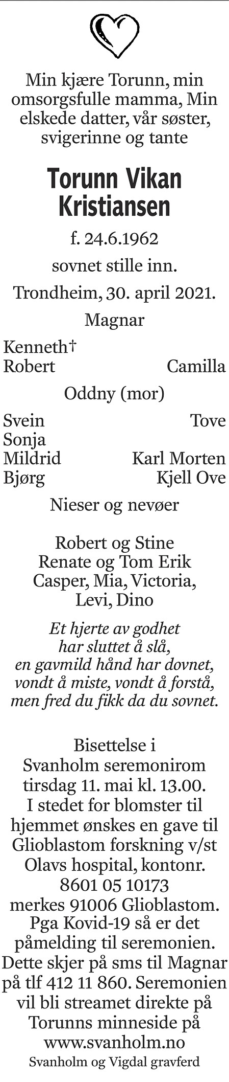 Torunn Vikan Kristiansen Dødsannonse