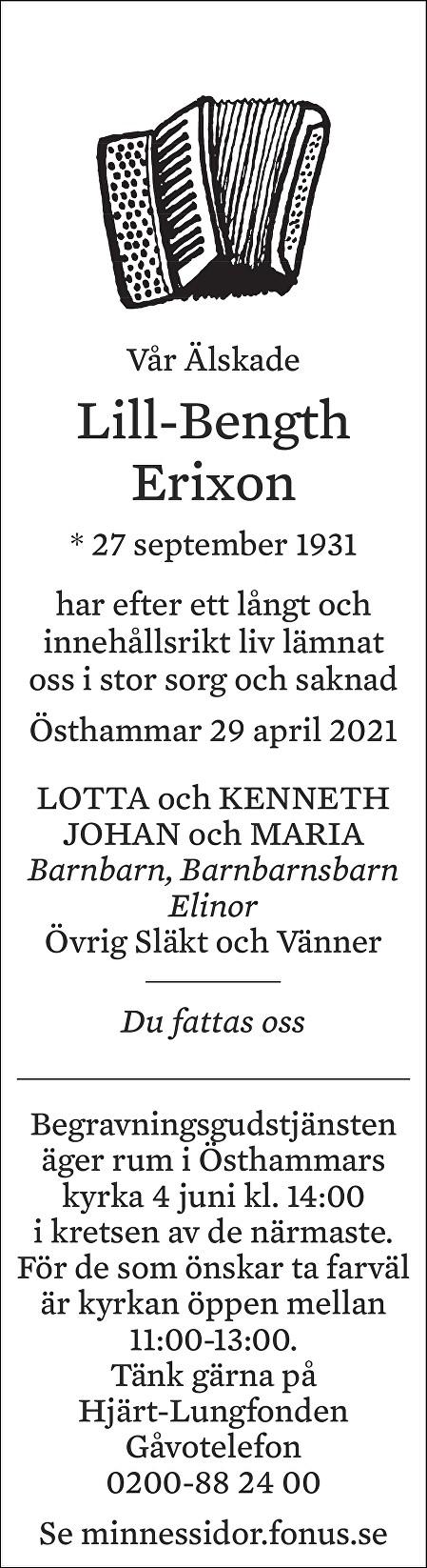 Bength Erixon Death notice
