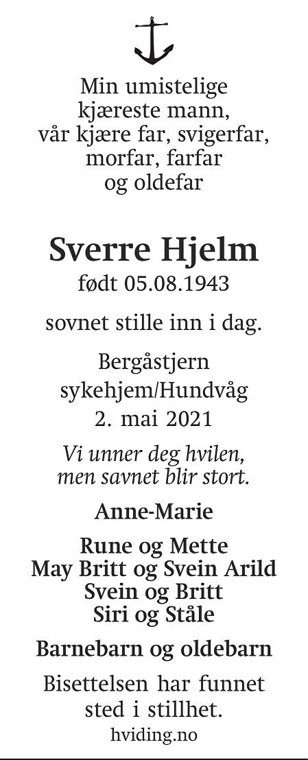 Sverre Hjelm Dødsannonse