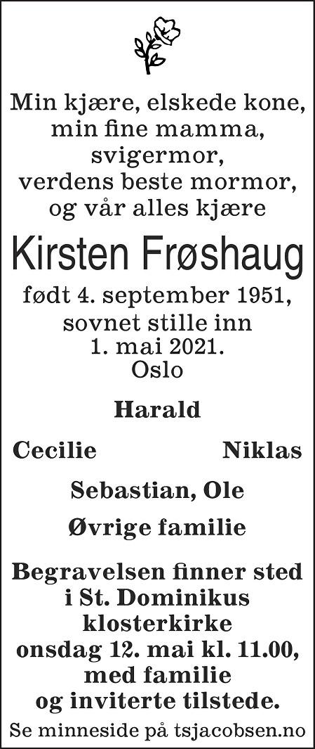 Kirsten Frøshaug Dødsannonse