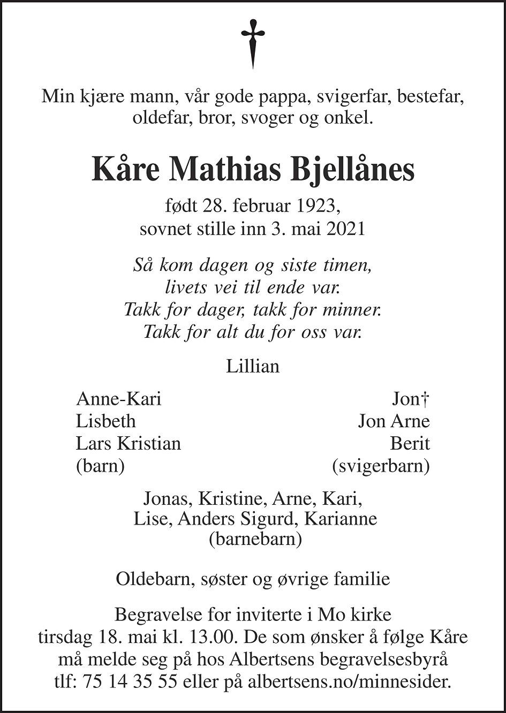 Kåre Mathias Bjellånes Dødsannonse