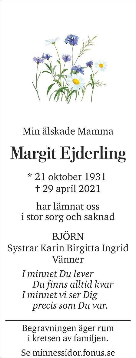 Margit Ejderling Death notice