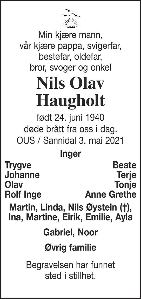 Nils Olav Haugholt Dødsannonse