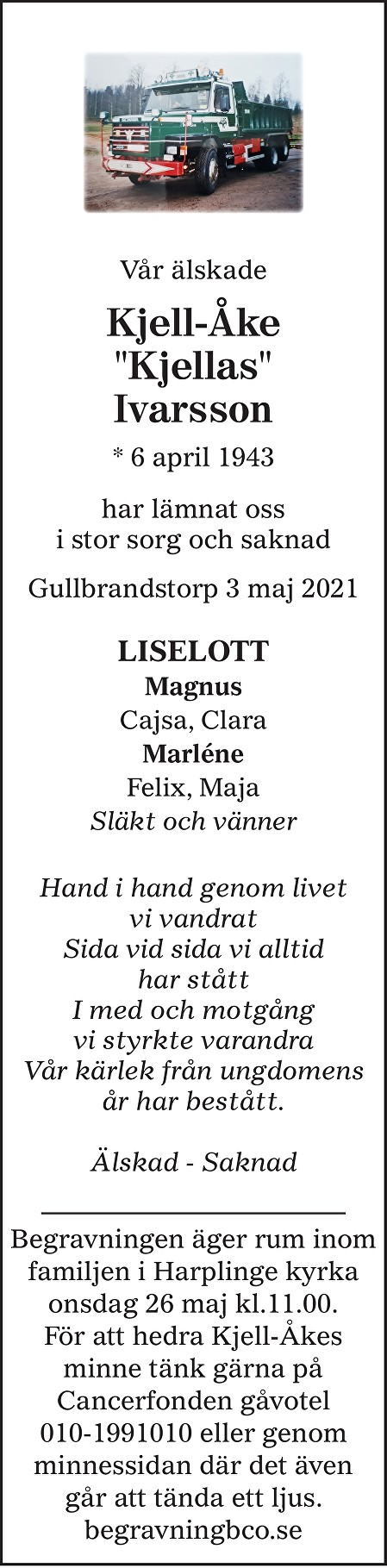 "Kjell-Åke ""Kjellas"" Ivarsson Death notice"
