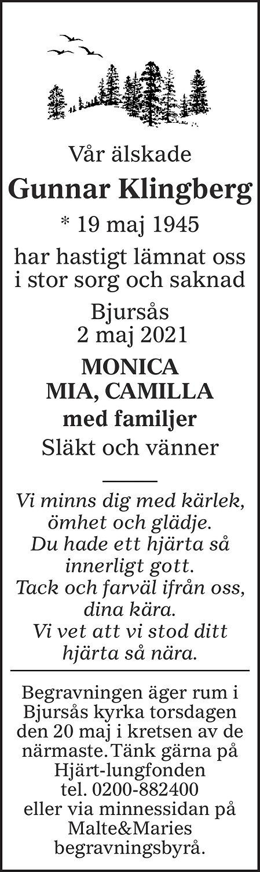 Gunnar Klingberg Death notice