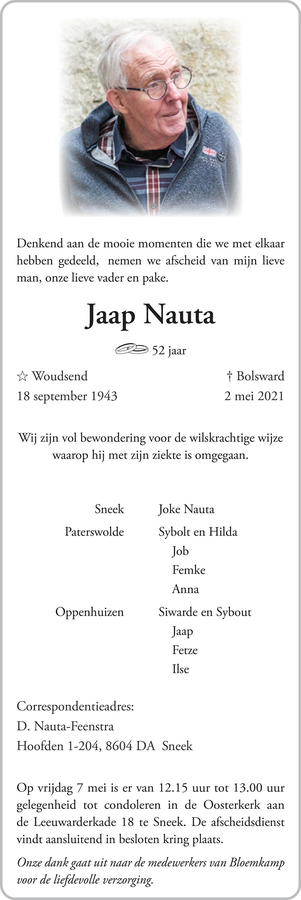 Jacob Nauta Death notice