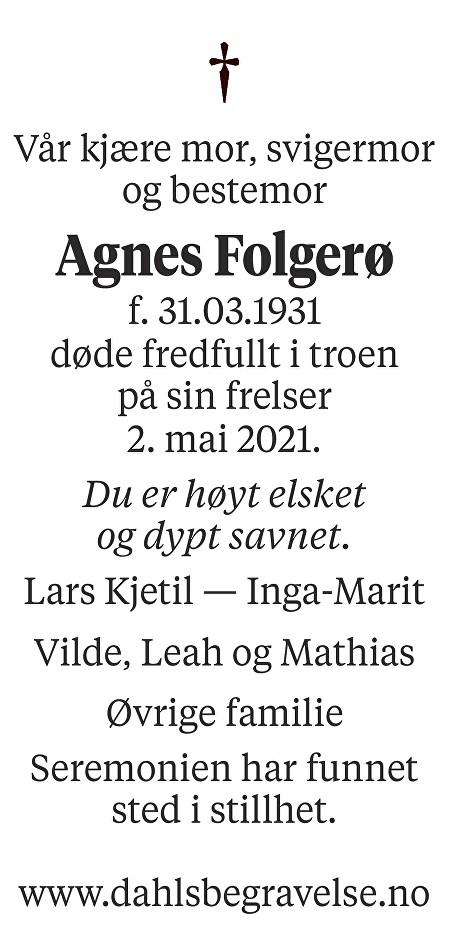 Agnes Folgerø Dødsannonse
