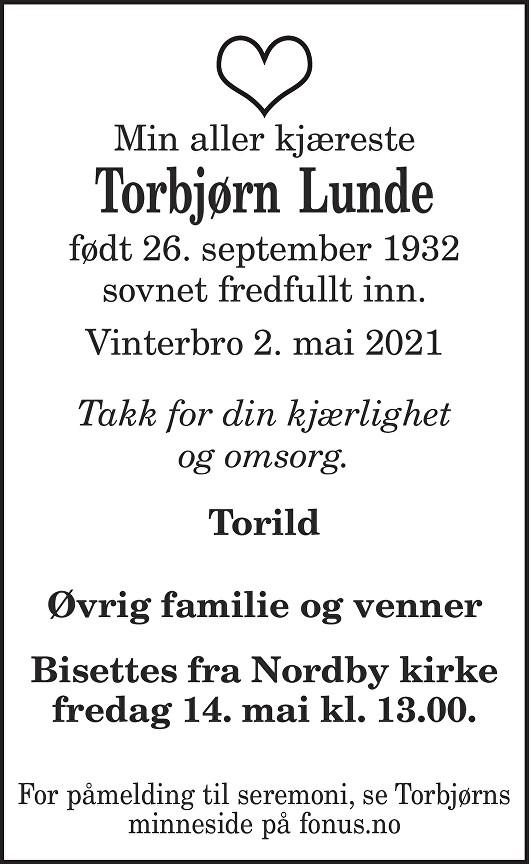 Torbjørn Lunde Dødsannonse