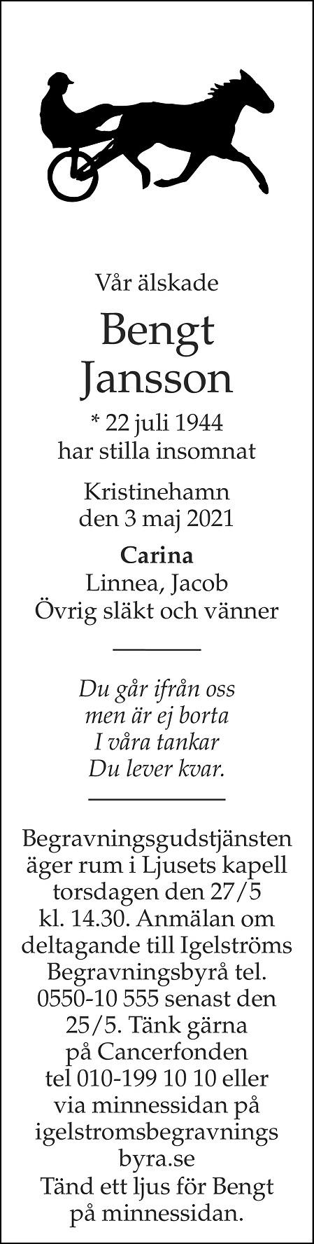 Bengt Jansson Death notice