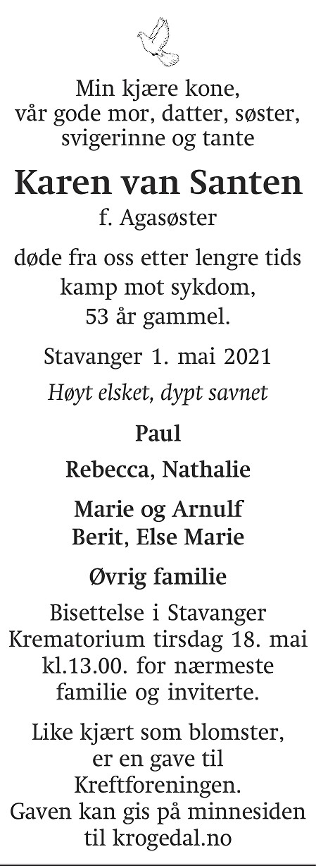 Karen van  Santen Dødsannonse