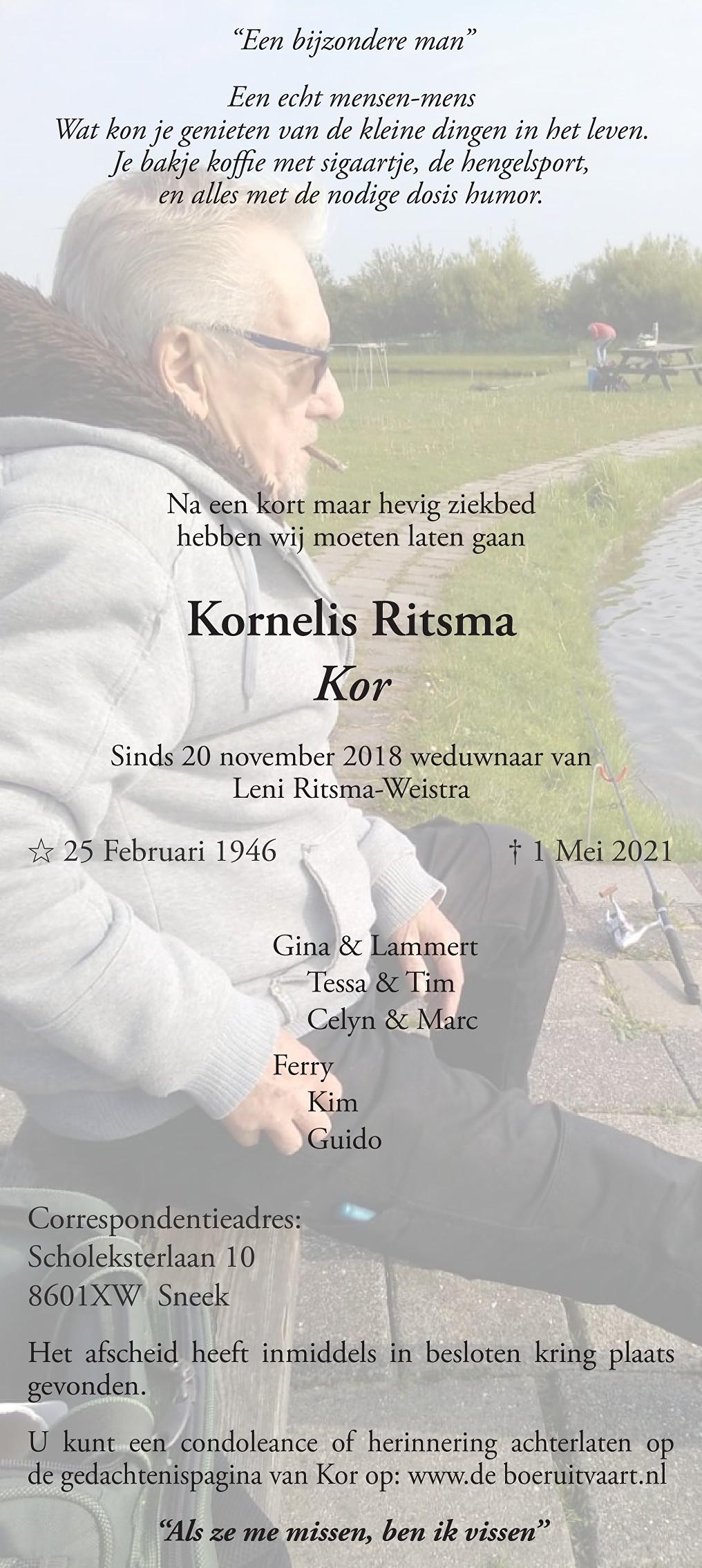 Kornelis Ritsma Death notice