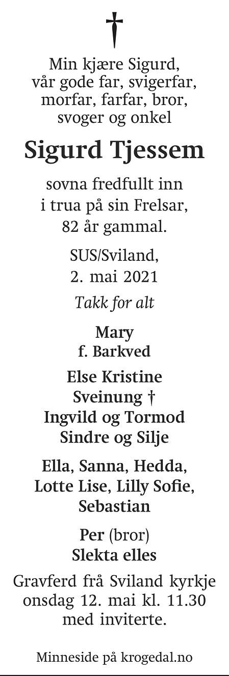Sigurd Tjessem Dødsannonse