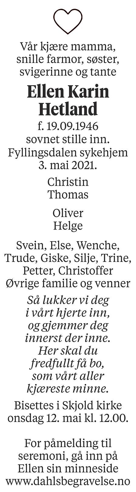 Ellen Karin Hetland Dødsannonse