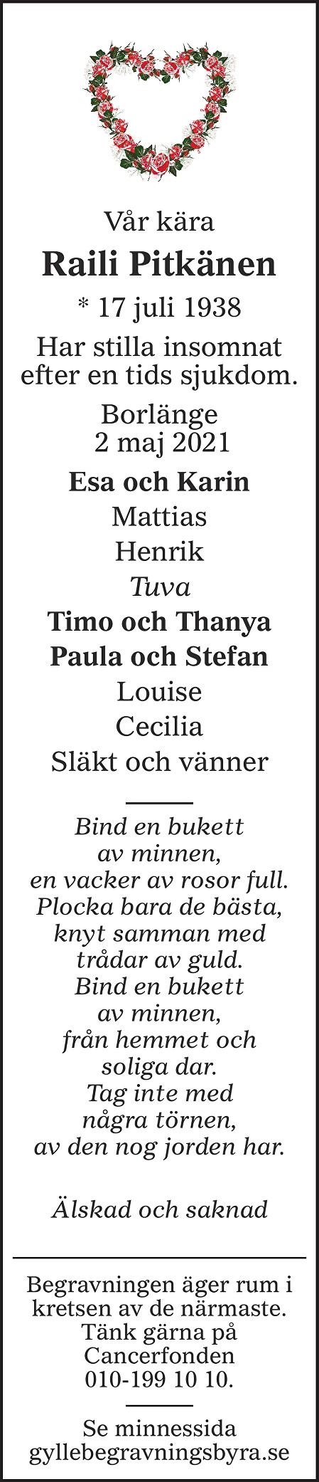 Raili Pitkänen Death notice