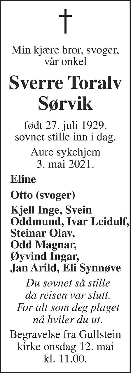 Sverre Toralv Sørvik Dødsannonse