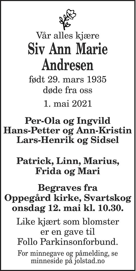 Siv Ann Marie Andresen Dødsannonse