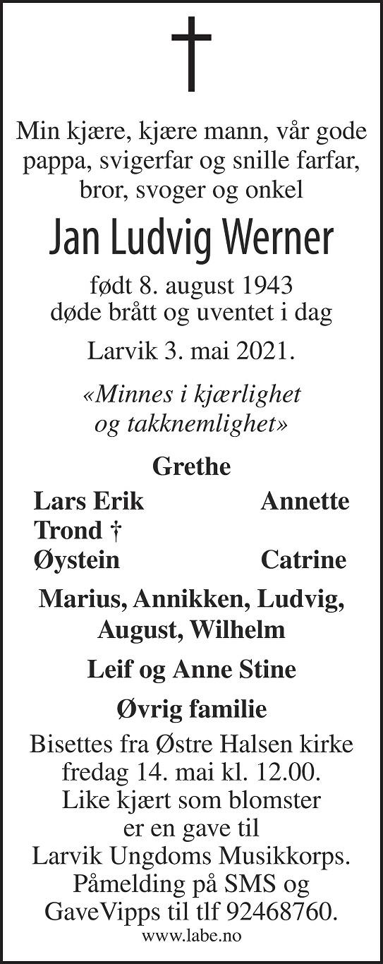 Jan Ludvig Werner Dødsannonse