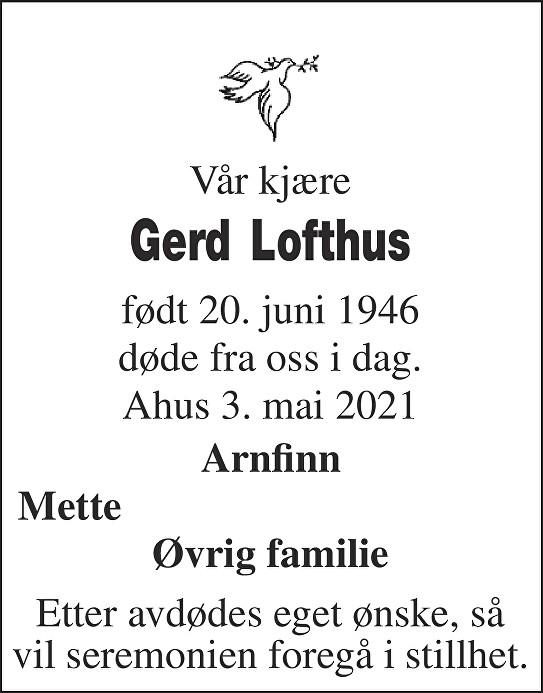 Gerd Lofthus Dødsannonse