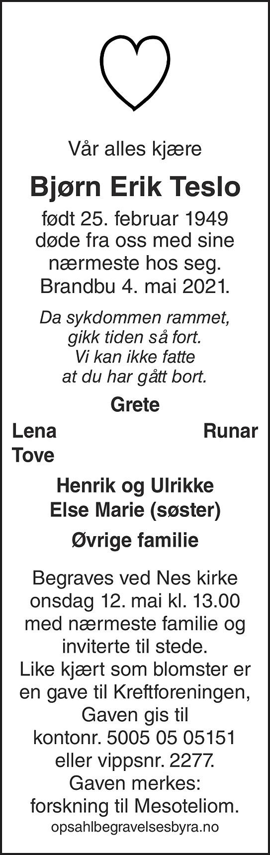 Bjørn Erik Teslo Dødsannonse