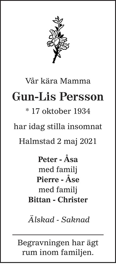 Gun-Lis Persson Death notice