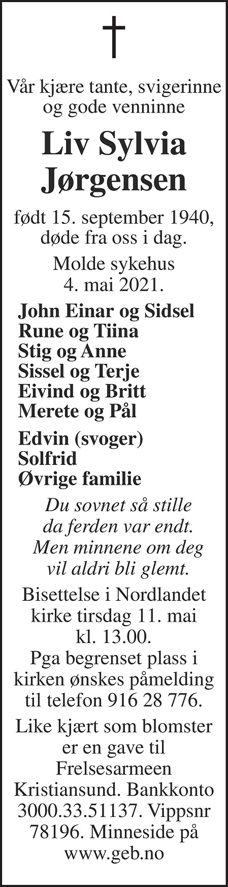Liv Sylvia Jørgensen Dødsannonse