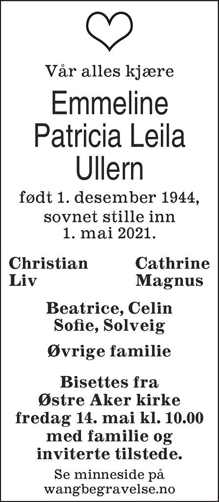 Emmeline Patricia Leila Ullern Dødsannonse