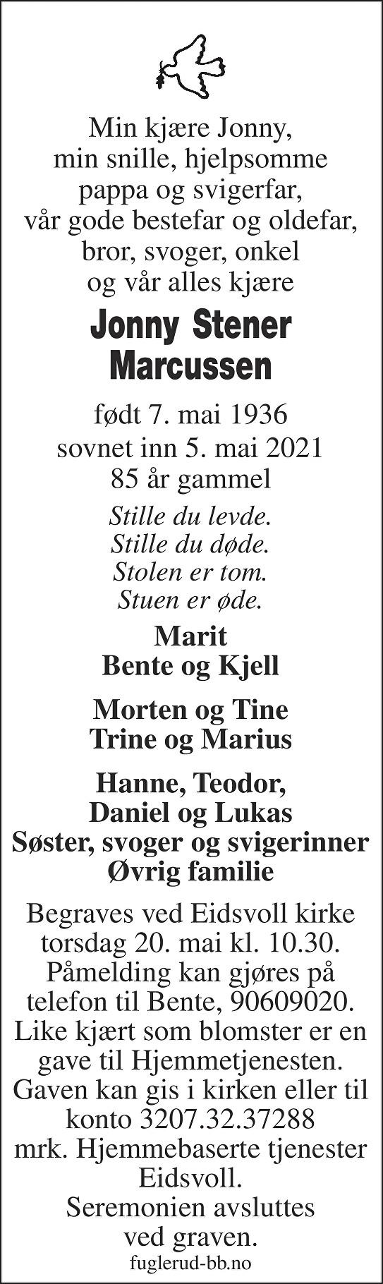Jonny Stener Marcussen Dødsannonse
