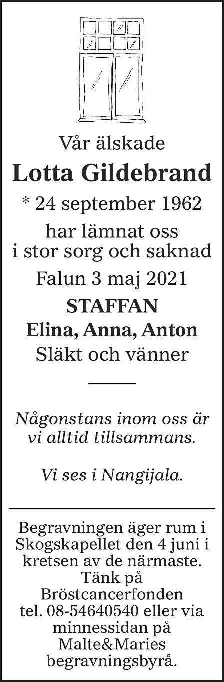 Lotta Gildebrand Death notice