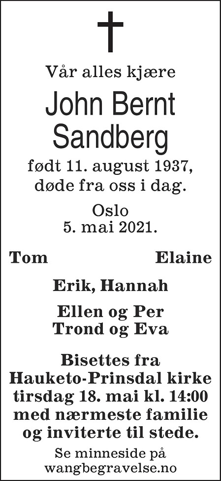 John Bernt Sandberg Dødsannonse