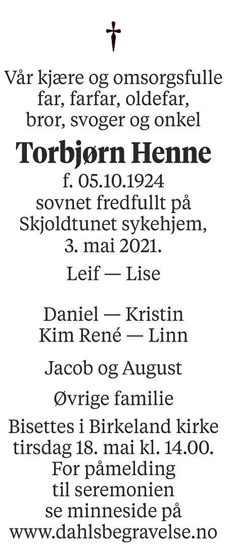 Torbjørn Henne Dødsannonse