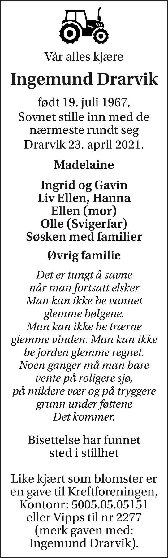 Ingemund Drarvik Dødsannonse