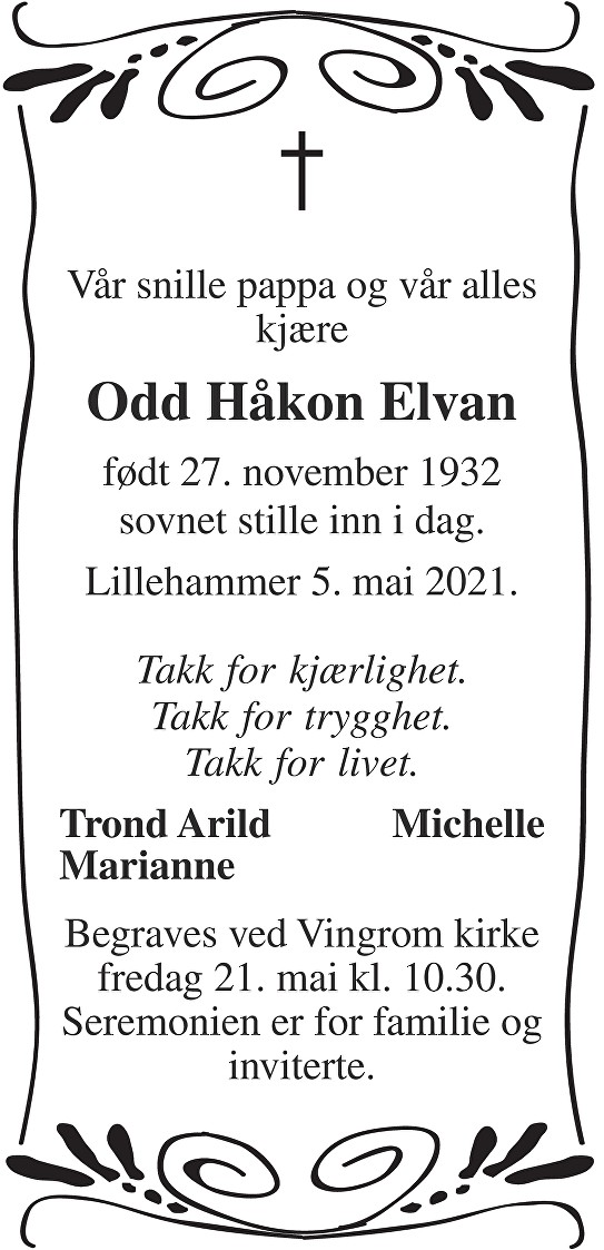 Odd Håkon Elvan Dødsannonse