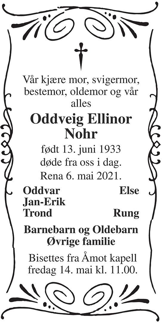 Oddveig Ellinor Nohr Dødsannonse