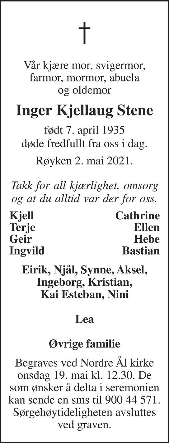 Inger Kjellaug Stene Dødsannonse